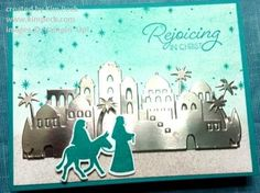 Night in Bethlehem Card - This card was made using a sponge brayer to do the background. For more information, see my video tutorial at http://kpeckstamps.typepad.com/k_peck_stamps/2017/08/2017-holiday-sneak-peek-samples-and-sponged-backgrounds-video-tutorial.html