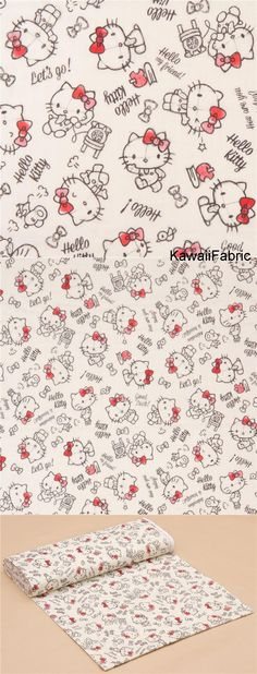 light cream double gauze cute Hello Kitty fabric from Japan - Kawaii Fabric Shop Michael Miller, Kawaii, Chat Hello Kitty, Modes4u, Sanrio Characters, Light Cream, Japanese Fabric, Double Gauze Fabric, Cotton Lights
