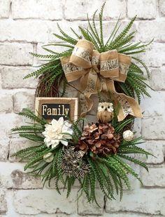 Front Door Wreath, Owl Wreath, Fall Wreath, Fall Door Wreath, Fall Grapevine Wreath, Etsy - This lovely owl wreath was handmade using a