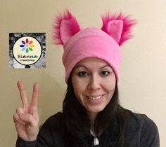 SALE ! Kawaii Fleece Pink Pussyhat Pussycat Pussy Cat Hat Hot Pink Faux Fur Ears Womens Women's March General Strike Beanie Hat by BiannaCreations on Etsy