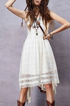 $44.99- Sleeveless Embroidered Irregular Hem Dress