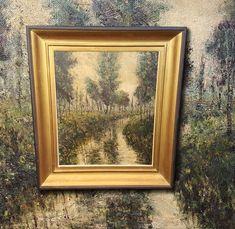 Stimmungsvoller Plein-Air Impressionist: Flusslauf in Waldlichtung, Ölgemälde