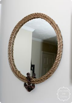 Nautical Rope Mirror with Anchor {Pottery Barn inspired} I would even like it with just the rope, no anchor.