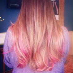 Blonde ombré highlights with pink color melting- hair by Julie Markey @ Bliss Salon in Boca Raton FL.