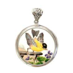 Broken China Boehm Eastern Goldfinch Bird & Meadow Violet Flower (New Jersey) Sterling Circle Pendant