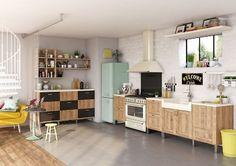 Des meubles de cuisine moderne revisités vintage http://www.m-habitat.fr/amenagement/rangements-cuisine/ #cuisine #vintage