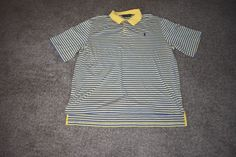 Ralph Lauren Golf Mens Yellow Striped Pima Cotton Polo Shirt W/ Pony X Large  XL #RalphLauren #PoloRugby