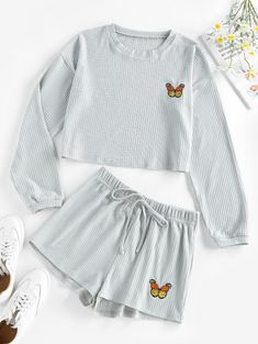 ZAFUL Knitted Butterfly Embroidered Drop Shoulder Shorts Set Girls Fashion Clothes, Teen Fashion Outfits, Girl Outfits, Trendy Fashion, Cute Lazy Outfits, Trendy Outfits, Cute Pajama Sets, Cute Sleepwear, Korean Girl Fashion
