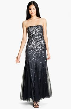 Free shipping and returns on Adrianna Papell Strapless Sequin Godet Gown at Nordstrom.com. Lustrous sequins electrify the strapless bodice of a glamorous mesh gown accentuated with flowing godets along the floor-skimming skirt for a voluminous finish.