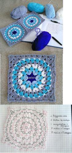 FREE DIAGRAM crochet granny circle square! I really like the colors!!                                                                                                                                                     Mais