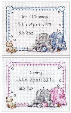 Buy Sleepy Baby Birth Sampler Cross Stitch Kit Online at www.sewandso.co.uk