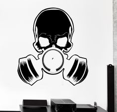Vinyl Wall Decal Skull Gas Mask Military Art Teen Room Stickers (272ig)