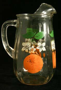 40s 50s Vintage Orange Juice Glass Pitcher - Orange Blossoms Stencil Design