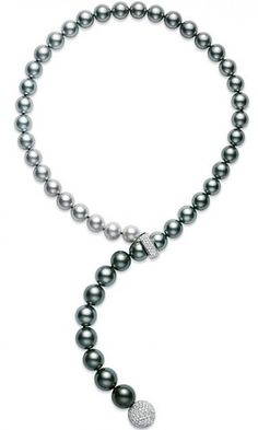Mikimoto Black South Sea cultured pearls. I love the careful gradation from white to black pearls and the lovely front clasp.