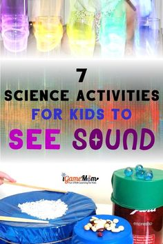 Sound Science Experiments for Five Senses Science Class Kids love: STEM activities to SEE the sound and to feel the sound, to learn sound wave concept and science study skills. Senses Preschool, Senses Activities, Preschool Science Activities, At Home Science Experiments, Kindergarten Science, Cool Experiments, Educational Activities, Sound Science, Stem Science