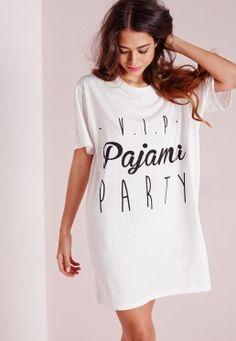 Chemise de nuit blanche slogan VIP Pajama Party