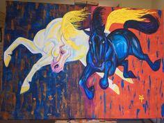 Skinfaxi & Hrünfaxi. Acrylic on canvas. 80 x 70 cm