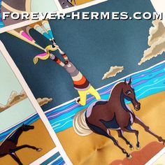 "Already dreaming of your next beach vacation? In store now http://forever-hermes.com #foreverhermes this Hermes Paris rare silk scarf titled Soie Libre created by talented Virginie Jamin in French Soie Libre is translated to Silk that is free (freedom) however the same sounds can be used for ""Be Free"" as the stunning design takes us #diving under the #ocean surrounded by cute #tropical #fish then #sailing or #horse #riding the #hermescarre brought to you by the cute seagull! #Hermes #Dapper"