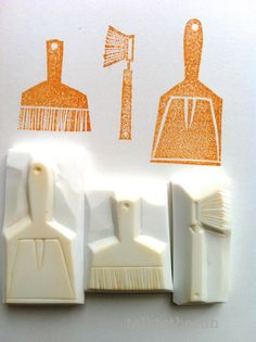 cleaning rubber stamps  hand carved stamp by talktothesun