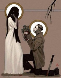 Horror / Samara and Jason lol awwww Arte Horror, Horror Art, Scary Movies, Horror Movies, The Ring Movie Horror, Horror Icons, Jason Voorhees, Animation, Poster S