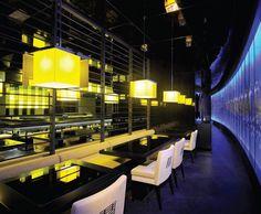 Wondrous gold lighting at The Levant restaurant in JW Marriott Marquis Dubai.