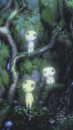 Princess Mononoke Luminous Tree Elves Spirit Kodam Jardin Miniature Idee art design landspacing to plant Studio Ghibli Films, Art Studio Ghibli, Studio Ghibli Tattoo, Studio Ghibli Poster, Studio Ghibli Characters, Princess Mononoke Poster, Princess Mononoke Wallpaper, Princess Mononoke Characters, Mononoke Anime