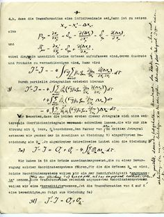 A page from an original manuscript of Albert Einstein's.