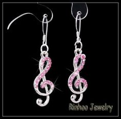 Pink Crystal Treble Cleft Earring