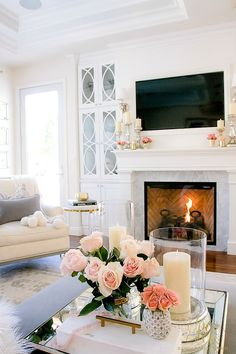 Tips to Warm up your Home after Christmas. Pink warms up the room! Fresh cut flowers and good smelling candles and a roaring fire do the trick in the family room!- Randi Garrett Design - June 09 2019 at Living Room Remodel, Home Living Room, Apartment Living, Living Room Designs, Living Room Decor, Romantic Living Room, Apartment Design, Living Area, Living Spaces