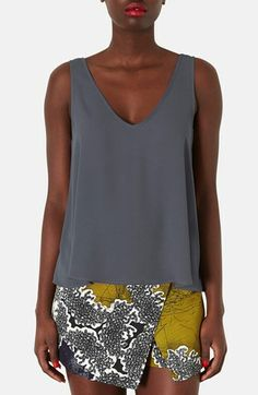 Topshop Double V-Neck Chiffon Tank || NORDSTROM