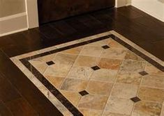 wood floors with tile inlay | Wood floor with tile inlay. | Material / Finish - tile