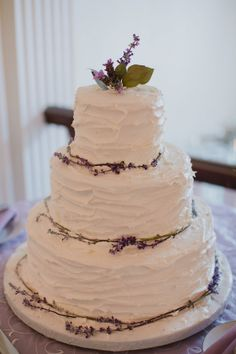 Textured Wedding Cake With Lavender by Mrs. G's Cakes and More | photography by http://marvelousthingsphotography.com/ | floral design by http://www.sweetrootvillage.com/#/flowers/ |