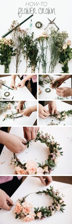 Flower wreath for the hair make yourself: 26 instructions with gerbera, rose and garden flowers – Accessories, DIY – Blumenkranz Diy Wedding Flowers, Diy Flowers, Fresh Flowers, Flowers Garden, Beach Flowers, Flower Diy, Beautiful Flowers, Flower Wall, Floral Flowers