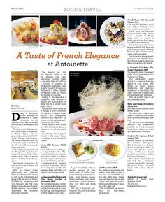 A Taste of French Elegance at Antoinette --- (Epoch Times, Singapore Edition: Issue 496, Oct 3 – Oct 16, 2014)