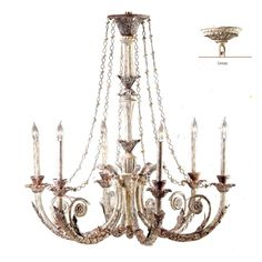 Parisian Flea Market Chandelier Painted French Crystal Lamps Buffet