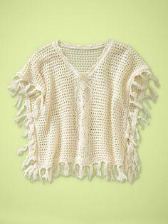 Toddler Girl: Crocheted Fringe Poncho