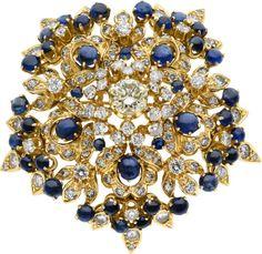 Diamond, Sapphire, Gold Pendant-Brooch.