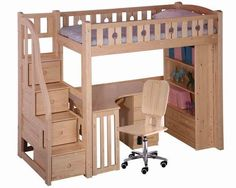 pinterest bunk bed ideas with desk | Bunk Bed Desk Underneath | Woodworking Project ... | Home Projects an ...