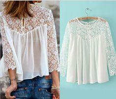 >> Click to Buy << Buenos Ninos white lace blouse for women chiffon blouses renda blusa long sleeve lac shirt crochet sexy plus size tops women  #Affiliate