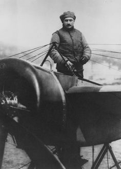 World War One  French fighter pilot Roland Garos (pictured here) made wartime history when he installed a machine gun on his Morane-Saulnier monoplane.
