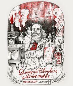 Dimitri Mendelejew war ein wilder Visionär und entdeckte das Periodensystem der Elemente. Illustration: Vitali Konstantinov
