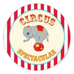 Red and White Striped Circus Birthday Stickers Circus Carnival Party, Circus Theme Party, Circus Birthday, Dinosaur Birthday Party, Birthday Party Decorations, Party Themes, Party Ideas, 7th Birthday, Custom Stickers