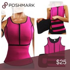 "Neoprene workout sauna vest with waist trainer Brand new and never worn. Perfect for fat burning while working out.Material: Neoprene.Approx measurement: Waist: 29"", bust: 28"" & hips: 32"". I am a size 8 and 36DD bra size. This fits great in my waist. A little tight on my boobs so if your boobs are smaller than mine it will be a perfect fit. ‼️Please ❌trade and ❌offers‼️ Unbranded Other"