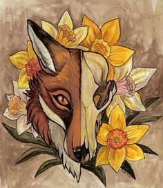 daffodil skull fox original framed art by theVultureEmporium Fox Skull, Skull Art, Painting The Roses Red, Different Art Styles, Fox Tattoo, Graphic Artwork, Art Studies, Artist Art, Daffodils