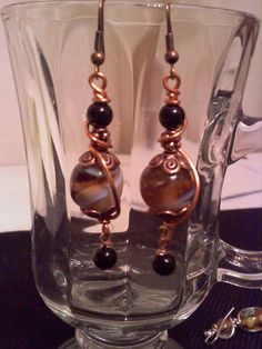 Copper wire wrapped glass beads. .... by PamsGemCollection on Etsy, $16.00