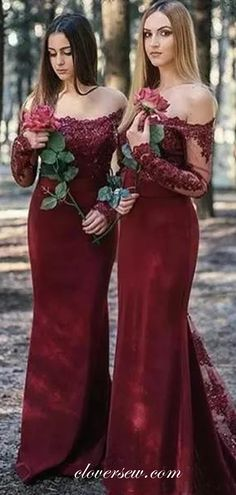 Maroon Lace Off The Shoulder Long Sleeves Sheath Bridesmaid Dresses ,C – clover sew - Moyiki Sites Discount Bridesmaid Dresses, Champagne Bridesmaid Dresses, Mermaid Bridesmaid Dresses, Dress Prom, Dress Long, Prom Dresses, Cheap Dresses, Casual Dresses