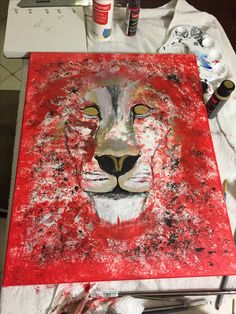 Half way lion abstract color painting acrylic red gold silver black