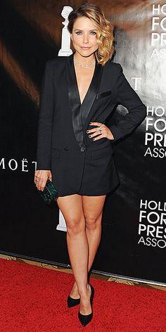 Sophia Bush in a tuxedo dress