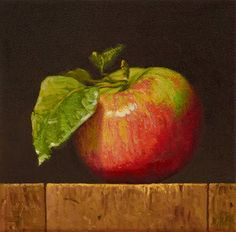 "Daily Paintworks - Original Fine Art © Abbey Ryan : Daily Paintworks - ""Apple with Leaves (fundraiser)"" - Original Fine Art for Sale - © Abbey Ryan Apple Painting, Fruit Painting, Still Life Drawing, Still Life Oil Painting, Veggie Art, Still Life Fruit, Apple Art, Fruit Art, Art Oil"