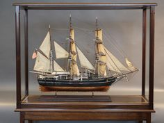 """Outstanding model by Peter Henrik Ness of the American whaleship """"Sunbeam"""". With detailed rigging, sails, block and t. Model Sailing Ships, Model Ships, Wooden Model Boats, Ship In Bottle, Block And Tackle, Boston Museums, Models For Sale, Nautical Art, Antique Auctions"""